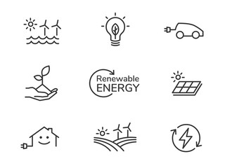 Renewable energy line icons