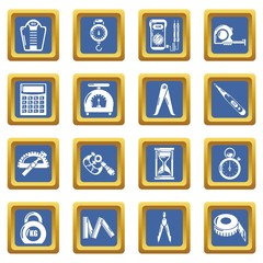 Measure precision icons set vector blue square isolated on white background