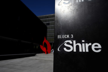 A Shire logo is seen outside their offices in Dublin