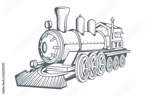 Old Train Logo Locomotive Drawing Steam Transport