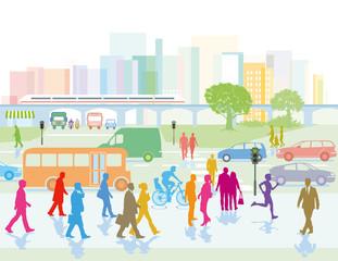 Großstadt mit Personen in der Stadt