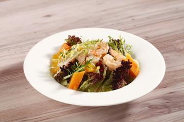 orange shrimp papaya salad
