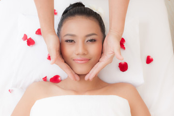 Beautiful young woman in spa salon, Young beautiful women relaxing and enjoying at the spa cent