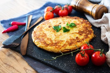 French Omelette with Potatoes, Mushroom and Salad