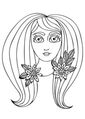 Vector hand drawn illustration woman with long hair for child and adult coloring book