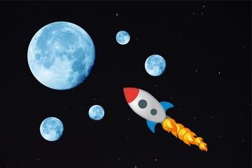 Mond, blau, raumschiff, feuer, geschwindigkeit, all, krater, raumfahrt, universum, cosmos, lunar, umlaufbahn, blau, nacht, himmel, weltraum, cosmos, galaxie, leuchten, licht, dunkelheit sterne, astron