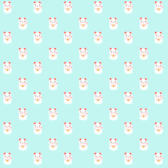 Pattern based on my maneki-neko design made in a kawaii style. Fatty, cute and happy.