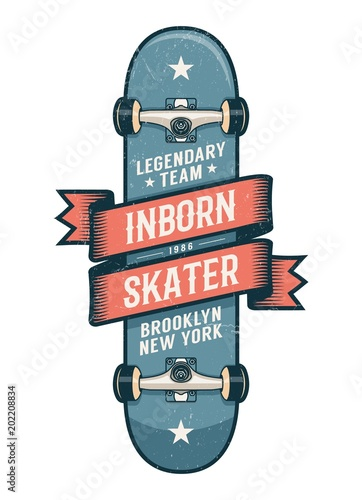 Authentic Skateboarding Logo In Old School Style Classic Skateboard With Heraldic Ribbon And Inscriptions