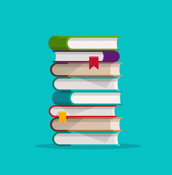 Books stack or pile vector illustration, flat cartoon paper book stacked isolated