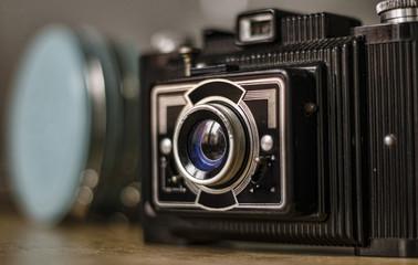 Black camera close up