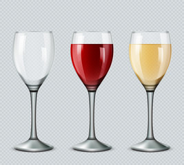 Set transparent vector wine glasses empty, with white and red wine on transparent background. 3d realistic vector image