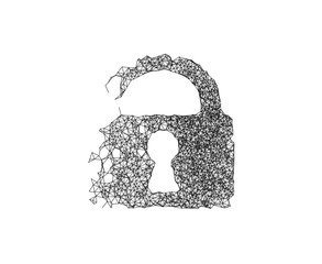 Lock line connect generative shape. Concept of network security, hack, data leak, data breach, information security, IoT