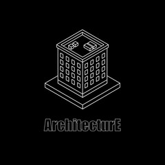 Isometric white outline building