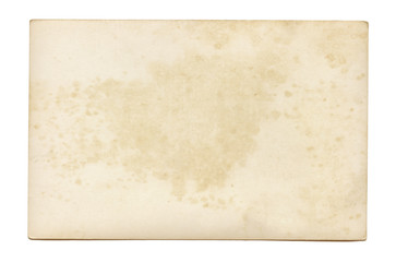 Vintage and antique art concept. Front view of blank old aged dirty frame with stains isolated on a white background.