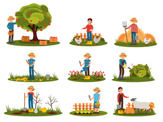 Flat vector set of farmer characters working outdoor. People engaged in gardening. Man picking apples. Woman feeding farm animals