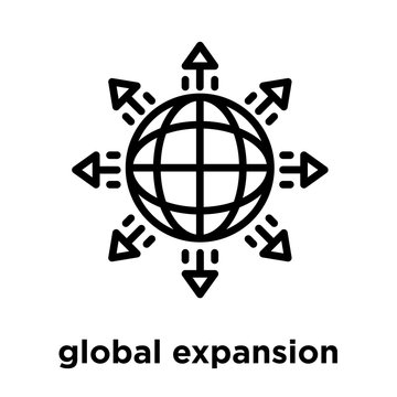 global expansion icon isolated on white background