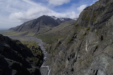 Idyllic shot of rocky mountains against sky, Iceland