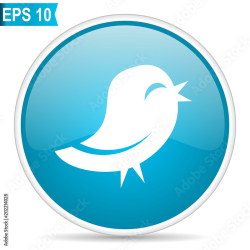 twitter blue glossy round vector icon in eps 10 editable modern