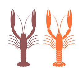 Langoustine silhouette. Crustacean. Isolated langoustine on white background