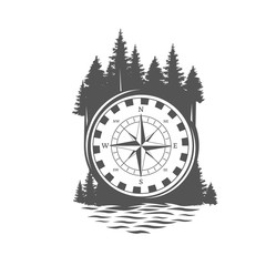 Adventure compass. Black and white illustration.