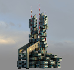 3D futuristic high-rise architecture
