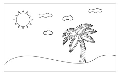 Beach lina art for painting and imagine. Nutural and Sketch art concept. Outline theme. Vector illustration background.