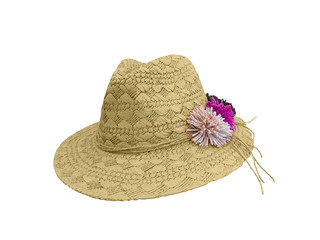 Straw hat with flowers.
