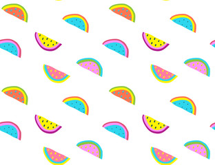 Crazy style watermelons on transparent background. Vector illustration.