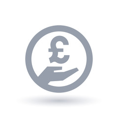 British Pound hand symbol - Britain currency pay icon