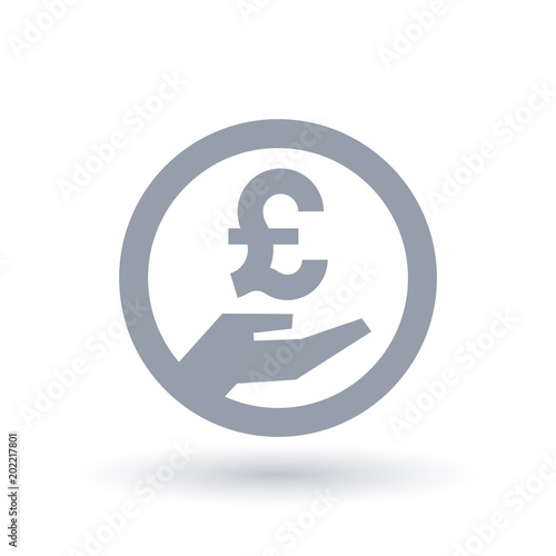 British Pound Hand Symbol Britain Currency Pay Icon Stock Image