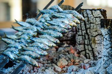 Espetos de sardina, Torremolinos, Andalusia, Spain