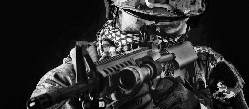 Macro portrait of military man sniper