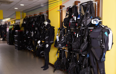 Image of the modern sport equipment for diving