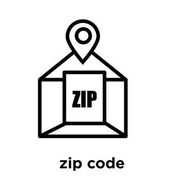 zip code icon isolated on white background