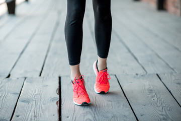 Standing in running shoes