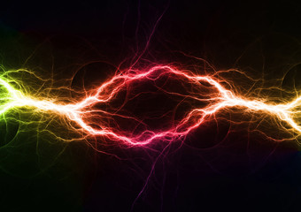 Colorful plasma, abstract electrical lightning