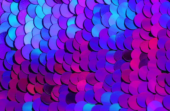 beautiful shiny texture background lots of colorful sequins in purple colors sewn on fabric like scales