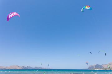 Alcudia, Mallorca - Kitesurfing at the wonderful beach of Alcudia
