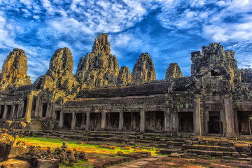 bayon stone faces of the people ,siem reap ,Cambodia, was inscribed on the UNESCO World Heritage