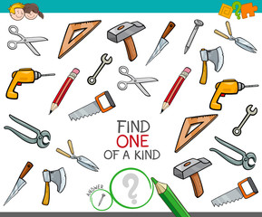 find one of a kind game with tools