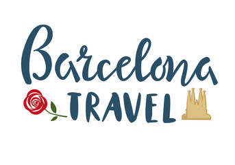 Barselona travel lettering with Cathedral and rose template, banner, sticker on isolated background. Vector illustration