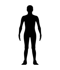 Male shape in front view isolated on white. Silhouettes. illustration