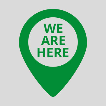Marker location icon with we are here text.