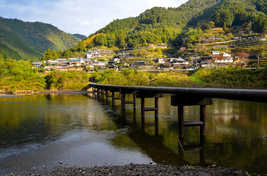 日本 四国 高知県 四万十川 沈下橋 Japan Shikoku Tochi Shimanto River Low - water crossing bridge