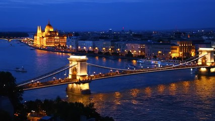 Fototapete - View of cityscape of Hungarian parliament building. Location Budapest, Danube river,  Hungary.