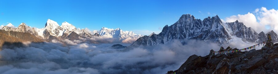 Evening panoramic scenery, Nepal Himalayas mountains