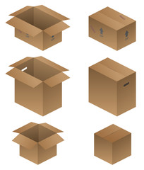Various Cardboard Shipping, Packing and Moving Boxes Vector Illustration