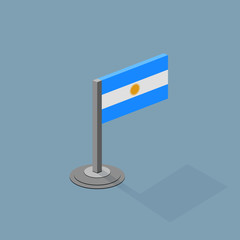 Argentina Isometric Flag with Flat Web Colors