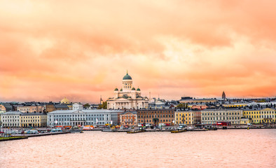 Ariel view of Helsinki at sunset with a Cathedral church and Market Square area on the shore of Baltic Sea in Helsinki, Finland.