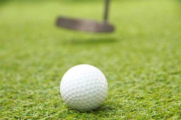 Golf ball on grass green putt in course